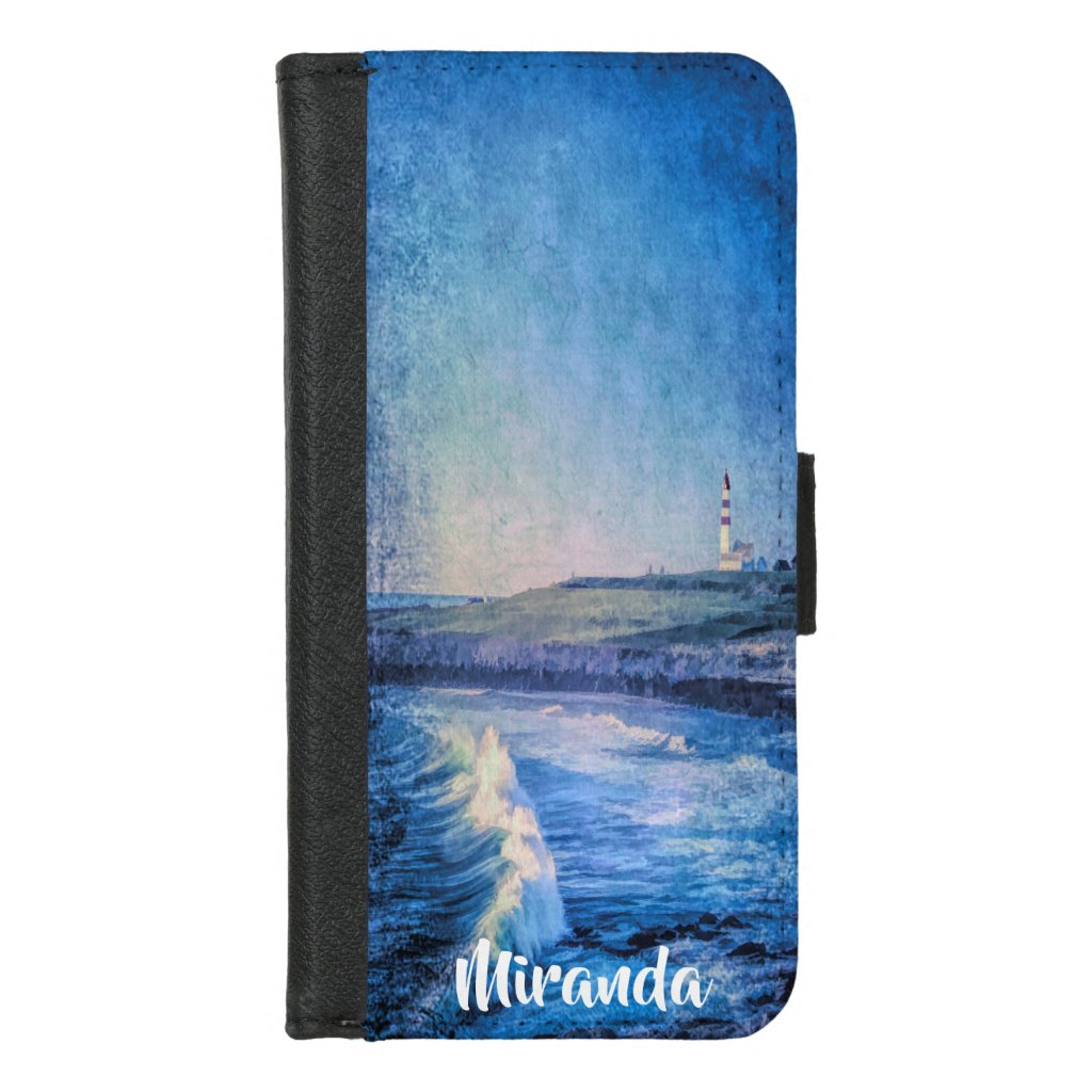 Lighthouse and ocean waves add name watercolored iPhone 8/7 wallet case
