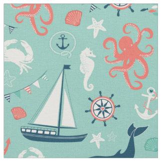 Lighthouse and Sailboats Nautical Aqua Fabric