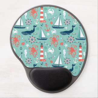 Lighthouse and Sailboats Nautical Theme Gel Mouse Pad