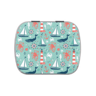 Lighthouse and Sailboats Nautical Theme Jelly Belly Candy Tin