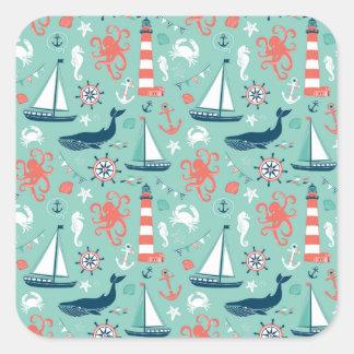 Lighthouse and Sailboats Nautical Theme Square Sticker