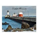 Lighthouse and Ship, Duluth Minnesota Postcard