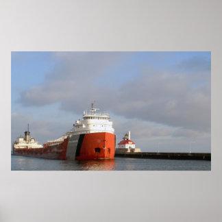 Lighthouse and Ship, Duluth Minnesota Poster