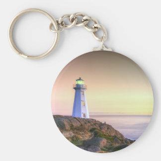 Lighthouse and Sunset Photo Keychain
