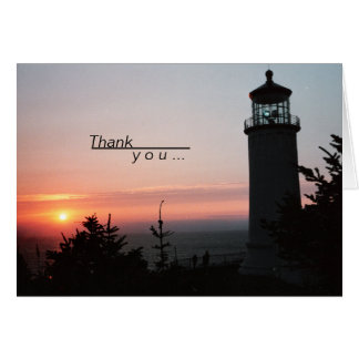 Lighthouse and Sunset Photo Picture Card