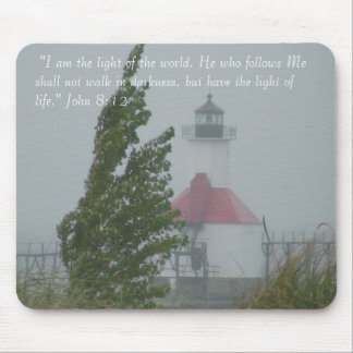 Lighthouse and tree mouse pad