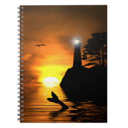 Lighthouse and Whale's Tail Notebook