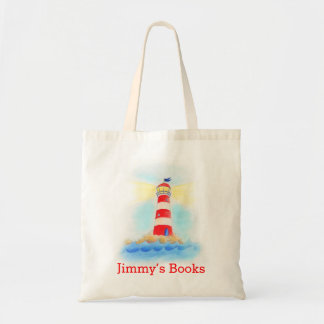 Lighthouse art kids named id library tote bag