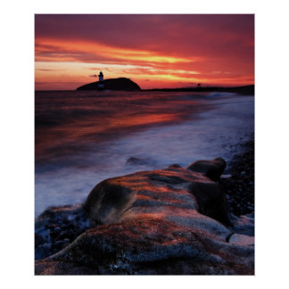 Lighthouse at Dawn Poster by cARTerART
