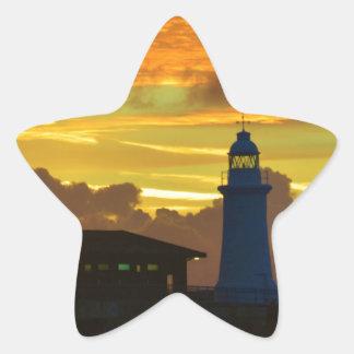 Lighthouse At Dawn Star Sticker