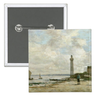 Lighthouse at Honfleur, 1864-66 (oil on panel) 2 Inch Square Button