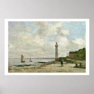 Lighthouse at Honfleur, 1864-66 (oil on panel) Poster