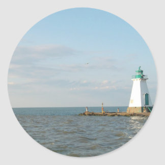Lighthouse At Lake Ontario Classic Round Sticker