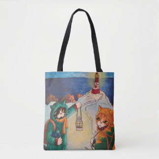 Lighthouse at Night Cats Tote Bag