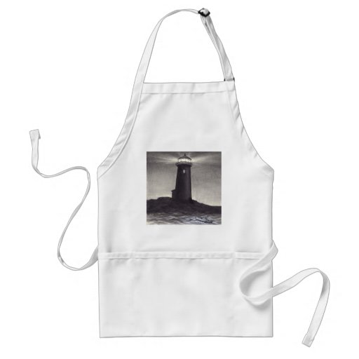 Lighthouse at night shining a light for a boat adult apron