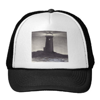 Lighthouse at night shining a light for a boat trucker hat
