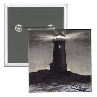 Lighthouse at night shining a navigation light pinback button