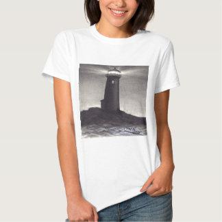 Lighthouse at night shining it's navigation light t-shirt