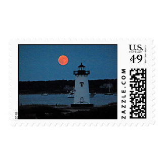 Lighthouse at Night with Full Moon Postage