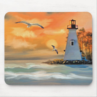 Lighthouse at Ocean Sunset and Seagulls Mouse Pad