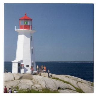 Lighthouse at Peggy's Cove, Nova Scotia, Canada. Large Square Tile