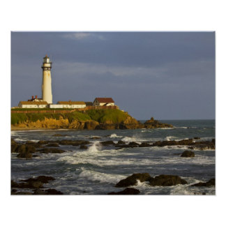 Lighthouse at Pigeon Point State Beach in San 2 Posters