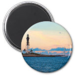 Lighthouse at Sunset 2 Inch Round Magnet