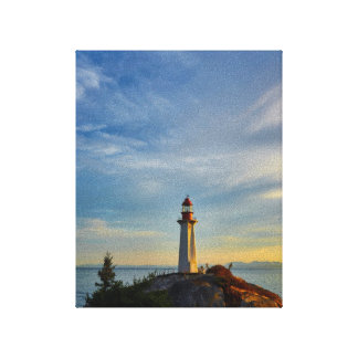 Lighthouse at sunset. canvas print