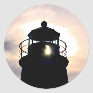 Lighthouse at Sunset Classic Round Sticker