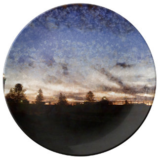 Lighthouse at sunset dinner plate
