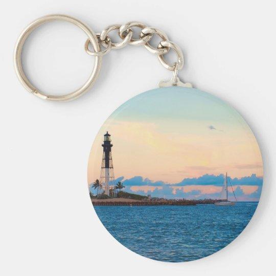 Lighthouse at Sunset Keychain