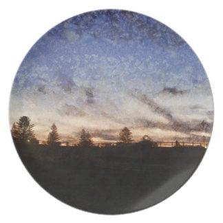 Lighthouse at sunset melamine plate