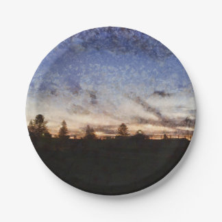 Lighthouse at sunset paper plate
