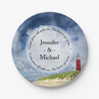 Lighthouse At The Beach Casual Wedding Paper Plate