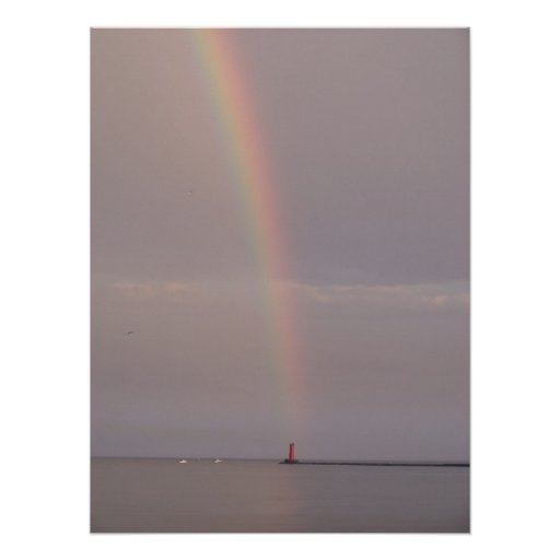 lighthouse at the end of the rainbow poster
