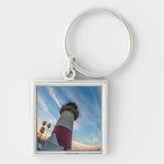Lighthouse at the Oceanside Harbor Silver-Colored Square Keychain
