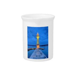 Lighthouse at the Paquis, Geneva, Switzerland Beverage Pitcher