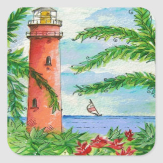 Lighthouse Beach Design Square Sticker