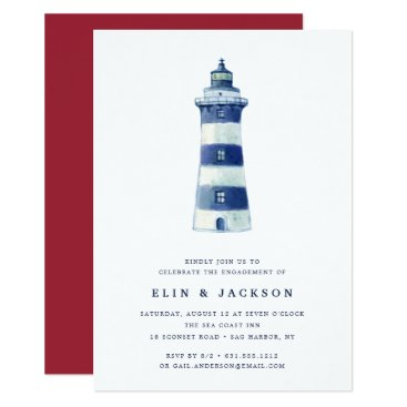 Beach Themed Lighthouse Beach | Engagement Party Invitation