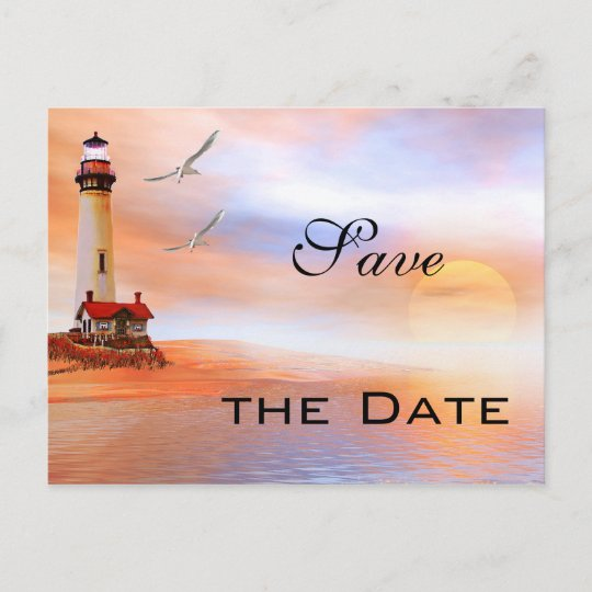 d07aa90037146 Lighthouse Beach Save the Date Postcard | Zazzle.com