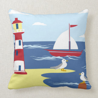 Lighthouse beach ship seagull  decor pillow