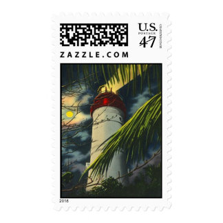 LIGHTHOUSE BEACON IN THE MOONLIGHT ~ POSTAGE STAMP