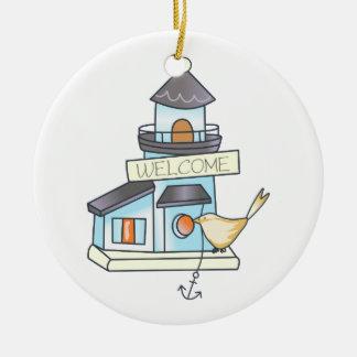 Lighthouse Birdhouse Ceramic Ornament
