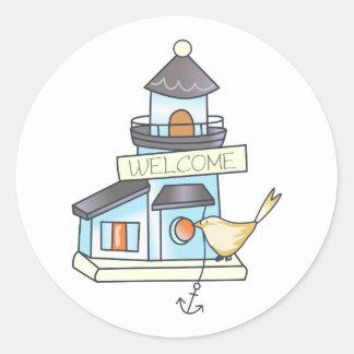 Lighthouse Birdhouse Classic Round Sticker