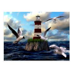 Lighthouse Birds Flying Postcard at Zazzle