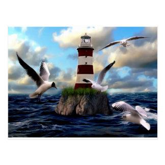 Lighthouse Birds Flying Postcard