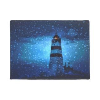 Lighthouse blue a rainy dark night with drops doormat