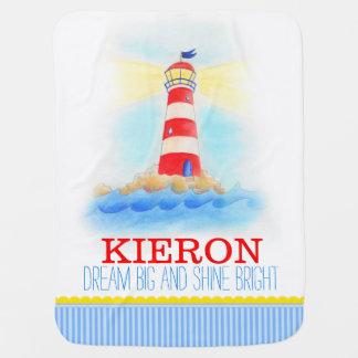 Lighthouse blue white boys name baby blanket