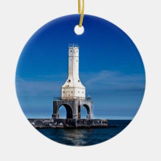 Lighthouse Blues Ceramic Ornament