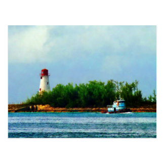 Lighthouse, Boat Nassau Bahamas Postcard